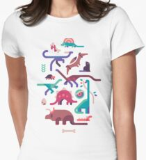 Dinos and a cat Women's Fitted T-Shirt