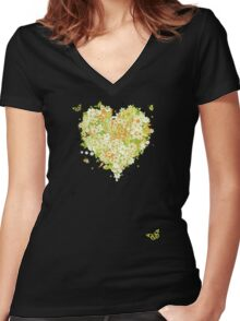 Floral heart for you Women's Fitted V-Neck T-Shirt