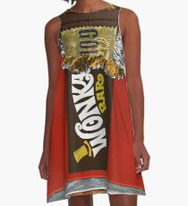 Wonka Chocolate Bar mit goldenem Ticket A-Linien Kleid