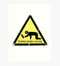 Drunken People crossing Art Print
