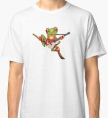 Tree Frog Playing Singapore Flag Guitar Classic T-Shirt
