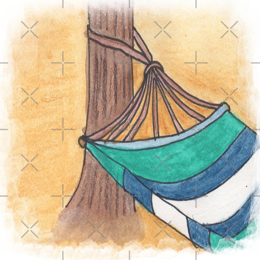 Just Swaying Away-Watercolor Hammock Design by PurposelyDesign