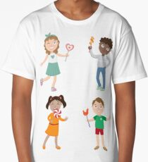 Children with Lollipops. Happy Children. Boy with Candy. Girl with Lollipop.  Long T-Shirt