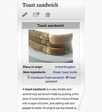 Toast Sandwich Wikipedia Meme Poster