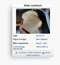 Water Sandwich Wikipedia Meme Canvas Print