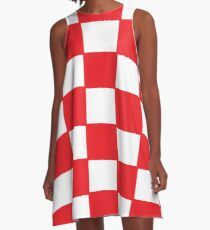 Croatia red chess board A-Line Dress