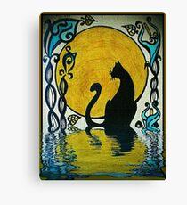 Lienzo Gato negro con reflejos