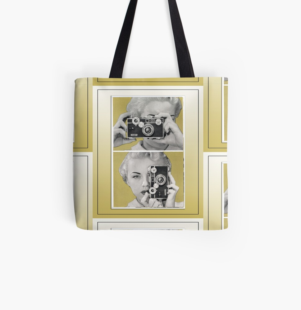 Woman with Argus Camera - Vintage Color Graphic All Over Print Tote Bag