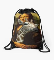 Mona Lisa Loves Giraffes Drawstring Bag