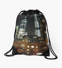 Subway station, New York, Brooklyn, Manhattan, New York City, Buildings, streets, trees Drawstring Bag
