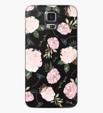 Floral Blossom - Black Background Case/Skin for Samsung Galaxy