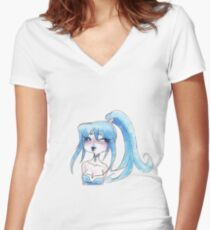 Icy Blue Girl Women's Fitted V-Neck T-Shirt