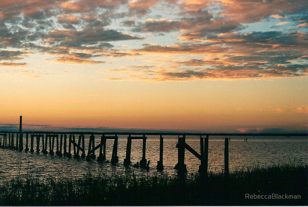 Sunset Old Pier by RebeccaBlackman