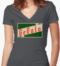 retro gelato Women's Fitted V-Neck T-Shirt