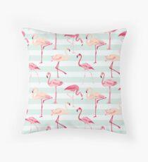 Flamingo Bird Retro Background Throw Pillow