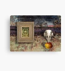 the crow the apple the farm Canvas Print