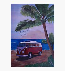 Surf Bus series -  red Surf Bus at palm beach Photographic Print