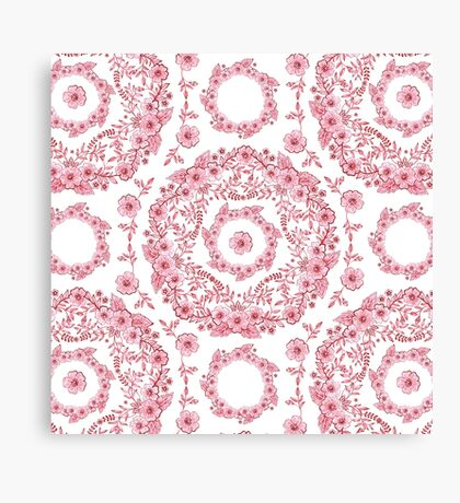 Versailles Pink Floral Canvas Print