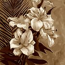 White Lilies and Palm Leaf in brownscale by clipsocallipso