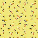 Flamingos auf gelbem Hintergrund von PearTreePond