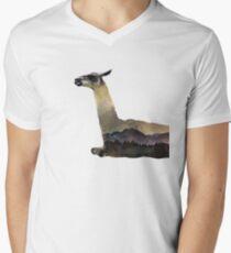 Llama - Landscape - Double Exposure Men's V-Neck T-Shirt