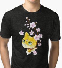Cat and cherry branch Tri-blend T-Shirt