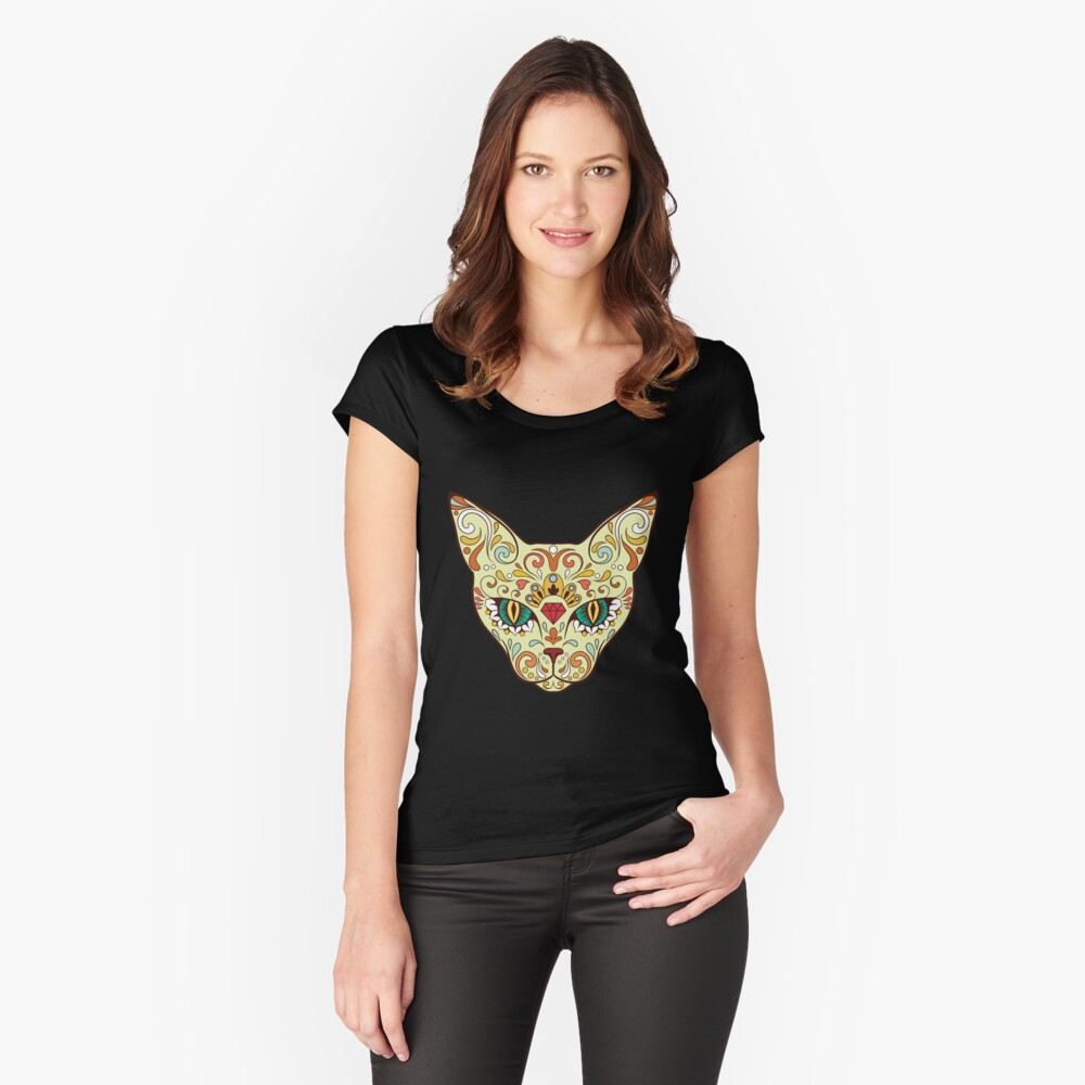 Sugar Skull Cat T-Shirt Women's Fitted Scoop T-Shirt Front