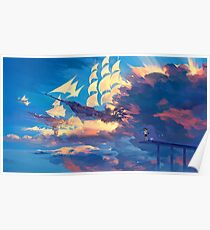 Anime Landscape | Flying Ships Poster