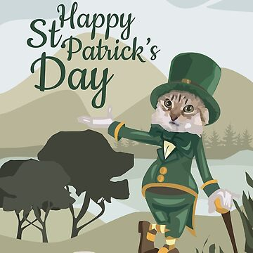 Leprecat Happy St. Patrick's Day Cat Leprechaun   by teashorts