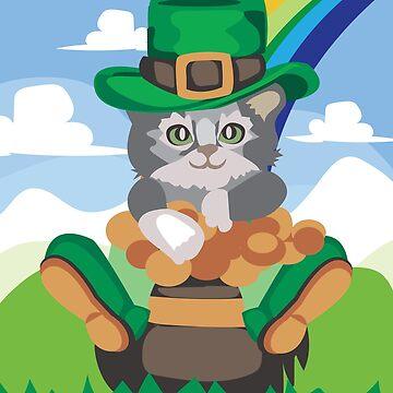 Funny Leprecat Leprechaun Cat Pot of Gold Rainbow Irish St. Patrick's Day  by teashorts