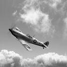 Spitfire EN152 above clouds B&W version by Gary Eason