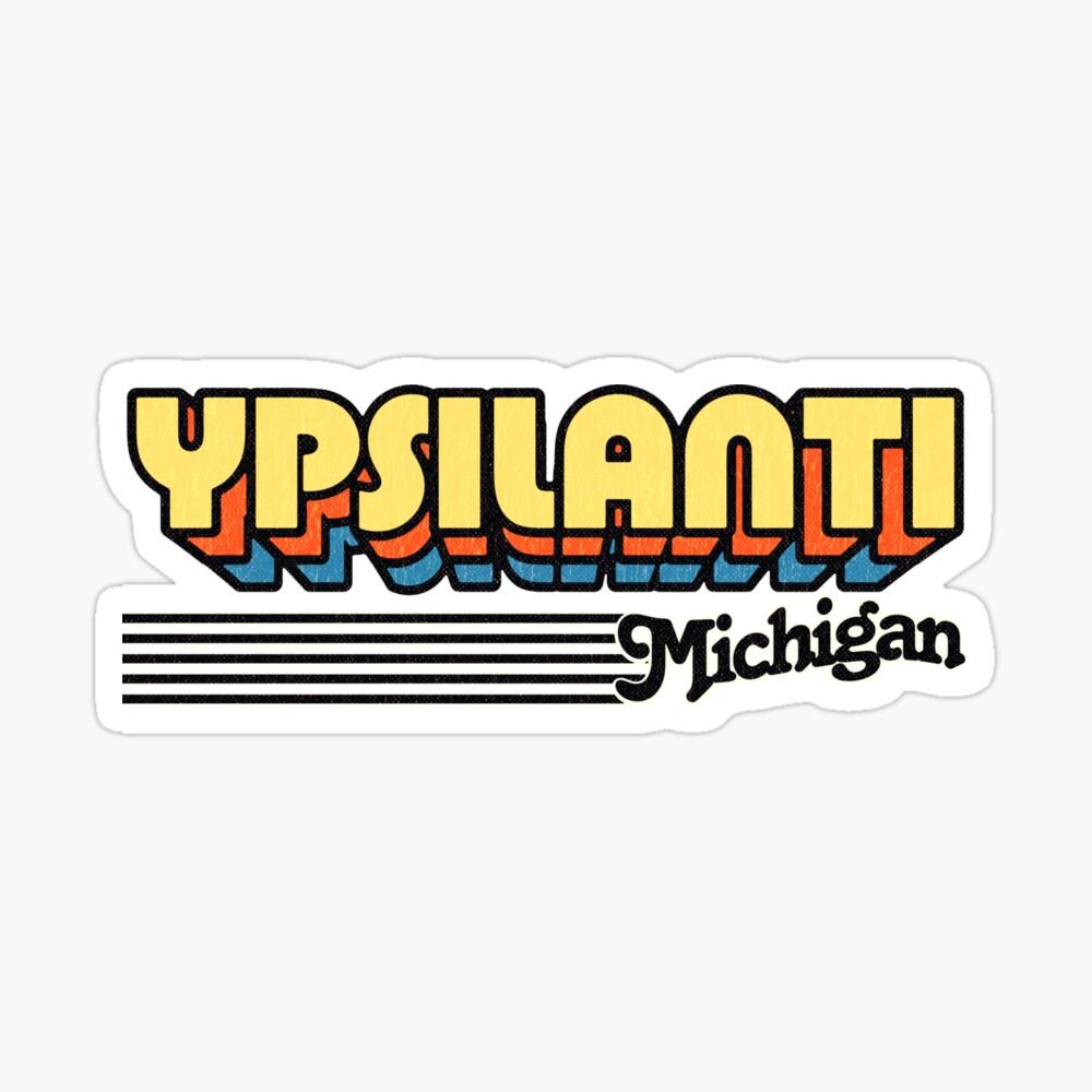 Ypsilanti, Michigan   Retro Stripes Sticker