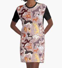 Hunderasse-Muster-Illustration T-Shirt Kleid