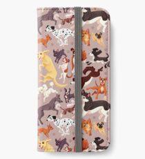 Hunderasse-Muster-Illustration iPhone Flip-Case/Hülle/Klebefolie