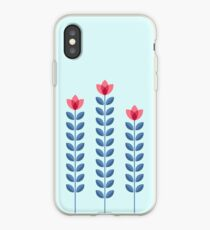 Scandinavian flowers 05, seamless pattern with long stems iPhone Case