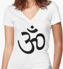 Indian Hindu Aum Om Symbol Women's Fitted V-Neck T-Shirt