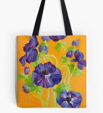 Anemones on a yellow background Tote Bag