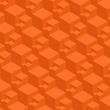 Geometric Cubes ( Orange )  by doodles-digital
