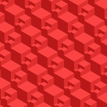 Geometric Cubes (red) by doodles-digital