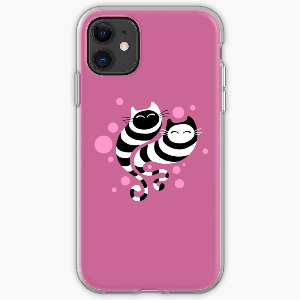 Striped ghost cats Pink iPhone Case & Cover