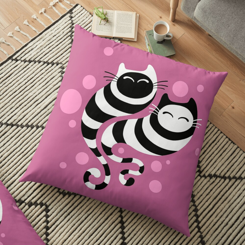 Striped ghost cats Pink Floor Pillow