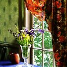 Vase of Flowers and Mug by Window by Susan Savad