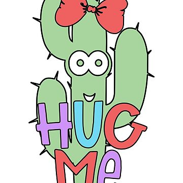 Hug Me Cactus Thorns Bow Colorful by blackcatprints