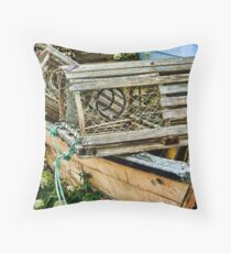 Lobster Pots and Fishing Boats Throw Pillow