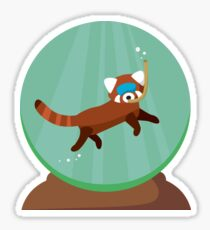 Red Panda Globe Sticker