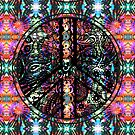 Circle of Peace Tangle with Tie Dye Background by Heatherian