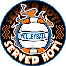 Volleyball Served Hot Blue Orange Vball  by MudgeStudios