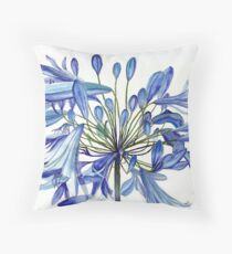 Agapanthus Flower Painting Throw Pillow