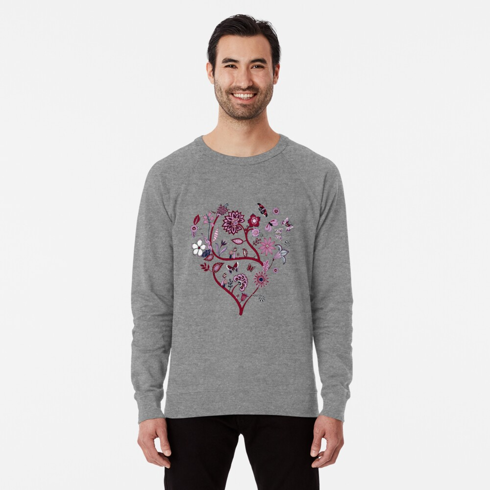 Fantasy Indian Floral - elegant, romantic pattern by Cecca Designs Lightweight Sweatshirt Front