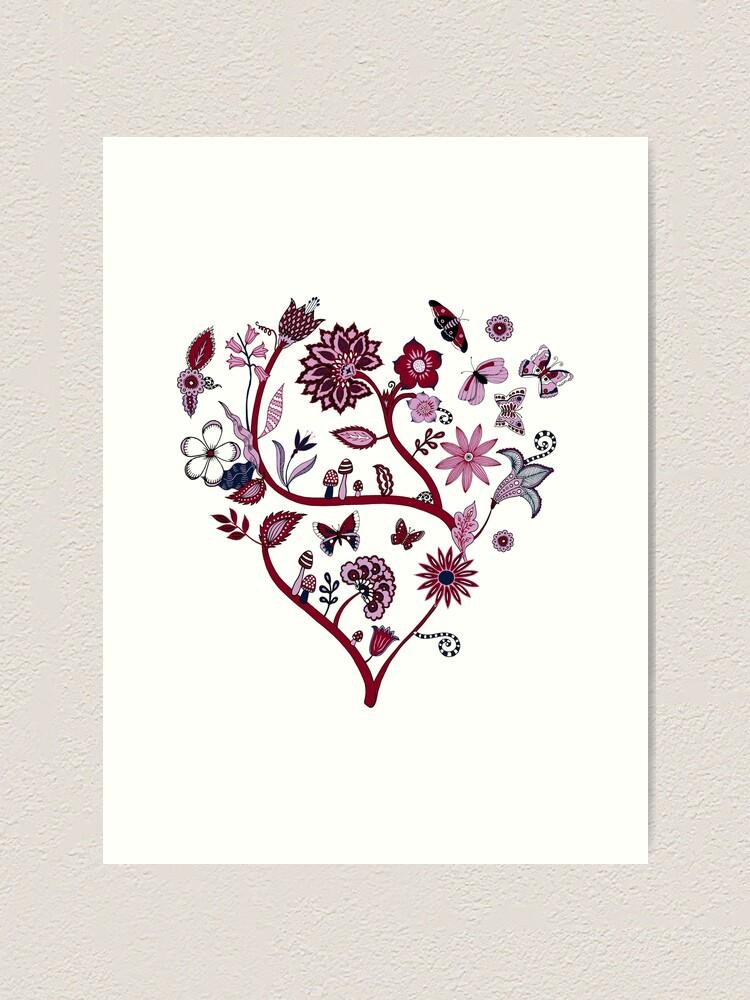 Alternate view of Fantasy Indian Floral - elegant, romantic pattern by Cecca Designs Art Print